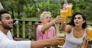 人小组叮当声吃健康素食食物,朋友通信的汁液玻璃在表上坐热带 股票视频