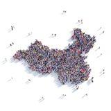 人小组形状地图中国 库存图片