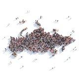 人小组形状地图俄罗斯 免版税图库摄影