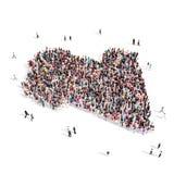 人小组形状地图利比亚 免版税库存照片