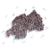 人小组形状地图卢旺达 库存照片