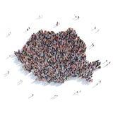 人小组形状地图罗马尼亚 免版税库存照片