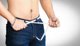 人尝试被隔绝的损失重量 免版税库存图片