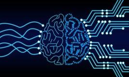 人工智能人脑处理器电路 计算机控制学的脑子 免版税库存照片