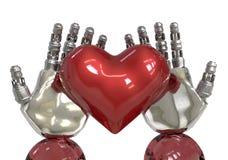 人工智能或AI递拿着红色心脏 机器人能在爱的感觉象人 免版税图库摄影