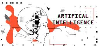 人工智能,概念性海报 向量例证