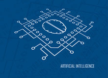 人工智能cpu脑子传染媒介 免版税库存照片