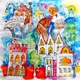 人工绘的色的风格化城市 例证 童话镇 蓝色夜,发光的窗口,神奇塔 免版税图库摄影