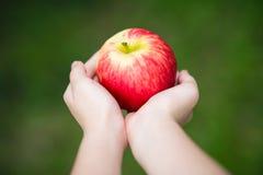人工说明的健康生活方式的概念拿着苹果计算机 图库摄影