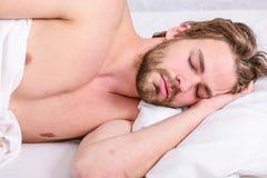 人帅哥在床上放置在早晨 关于怎样的技巧叫醒感到新鲜和精力充沛 感觉的早晨定期技巧 免版税库存图片