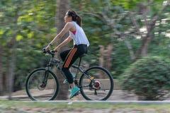 人循环的自行车在锻炼的公园 免版税库存图片