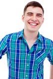 年轻人微笑的特写镜头 免版税库存照片
