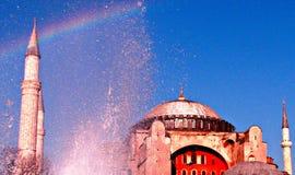 令人惊讶的圣索非亚大教堂彩虹 库存图片