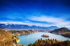令人惊讶的流血的湖,斯洛文尼亚,欧洲 免版税库存照片
