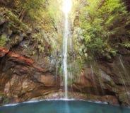 令人惊讶的马德拉岛瀑布风景 免版税库存图片