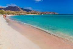 令人惊讶的Elafonisi海滩,干尼亚州专区,在克利特海岛南部,希腊 免版税图库摄影
