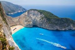 令人惊讶的Navagio海滩在扎金索斯州海岛,希腊 免版税图库摄影