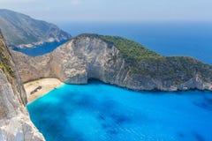 令人惊讶的Navagio海滩在扎金索斯州海岛,希腊 库存图片