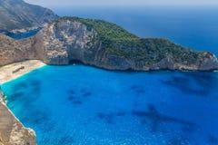令人惊讶的Navagio海滩在扎金索斯州海岛,希腊 图库摄影