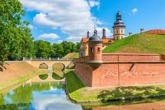 令人愉快的中世纪城堡在涅斯维日白俄罗斯 库存图片