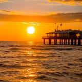 令人愉快的海日落 图库摄影