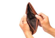 人手打开在白色背景的一个空的钱包 免版税库存图片
