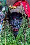人打扮与在母牛GaijatraThe节日的草  库存图片