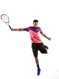 年轻人打网球 免版税库存图片