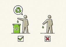 人投下垃圾传染媒介例证 库存例证