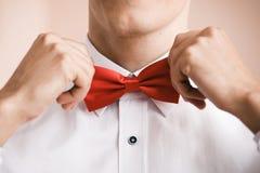 人投入红色蝶形领结 关闭 浅深度的域 免版税库存图片