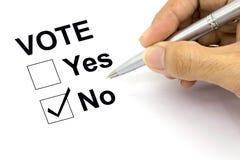 人投反对票的复选框 库存照片