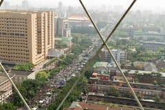 人抗议台湾的商业契约 库存图片