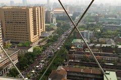 人抗议台湾的商业契约 免版税库存图片