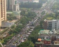 人抗议台湾的商业契约 库存照片