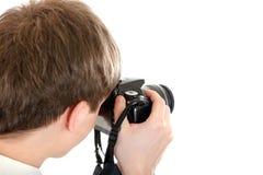 人拍与照相机的一张照片 库存照片