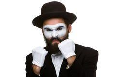 人拳击的画象在构成笑剧的 免版税库存照片