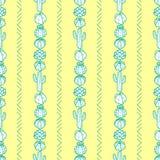 仙人掌和多汁植物垂直的镶边样式在绿色概述 库存例证