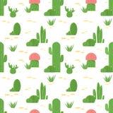 仙人掌和多汁植物的无缝的样式 在白色背景隔绝的平的设计仙人掌 库存照片