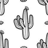 仙人掌和开花在黑概述在白色背景 Seamles 皇族释放例证