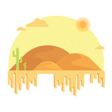 仙人掌在沙丘中增长 在明亮的太阳下的热的沙漠 库存照片