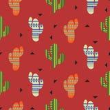 仙人掌植物传染媒介无缝的样式 墨西哥样式颜色仙人掌纺织品印刷品 库存照片