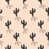 仙人掌植物传染媒介无缝的样式 抽象动画片脸红颜色沙漠织品印刷品 向量例证