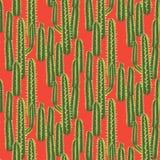 仙人掌植物传染媒介无缝的样式 抽象沙漠自然织品印刷品 向量例证