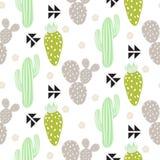 仙人掌植物传染媒介无缝的样式 抽象行家沙漠自然织品印刷品 皇族释放例证