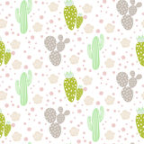仙人掌沙漠传染媒介无缝的样式 绿色和灰色自然织品印刷品纹理 皇族释放例证