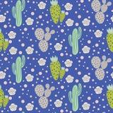 仙人掌沙漠传染媒介无缝的样式 绿色和灰色自然织品印刷品纹理 免版税库存照片