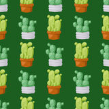 仙人掌自然沙漠花绿色墨西哥多汁热带植物无缝的样式仙人掌花卉传染媒介例证 库存照片
