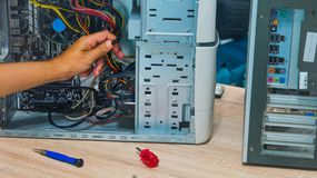人接线计算机零件 图库摄影