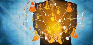 人提供被交互相联的同辈的虚拟社区 免版税库存照片