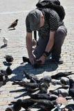 人摄制鸽子 免版税库存图片